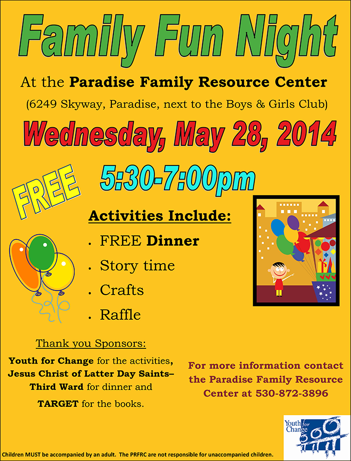 Family Fun Night Paradise May 28